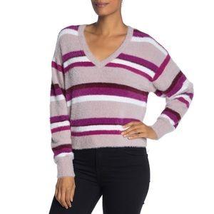 NWT Splendid Purple Striped Fuzzy Sweater Large